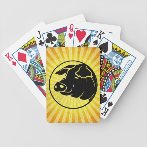 Pig Head; Yellow Bicycle Playing Cards