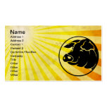 Pig Head; Yellow Double-Sided Standard Business Cards (Pack Of 100)