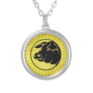 Pig Head; Yellow Silver Plated Necklace