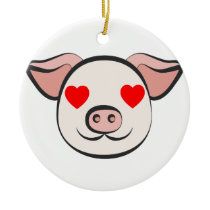 Pig Heart Emoji Ceramic Ornament