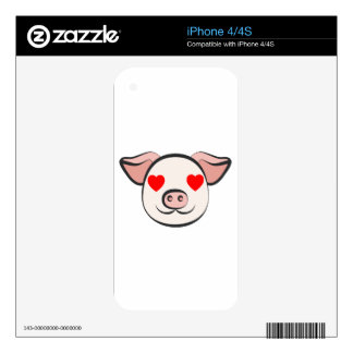 Pig Heart Emoji Decals For iPhone 4