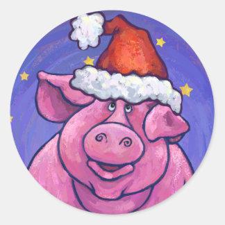 Pig Holiday Round Sticker
