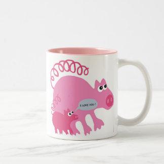 pig I coils you Two-Tone Coffee Mug