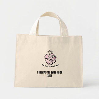 pig, I Survived The Swine Flu of 2009 Mini Tote Bag