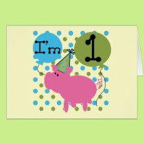 Pig I'm 1 Birthday Tshirts and Gifts Card
