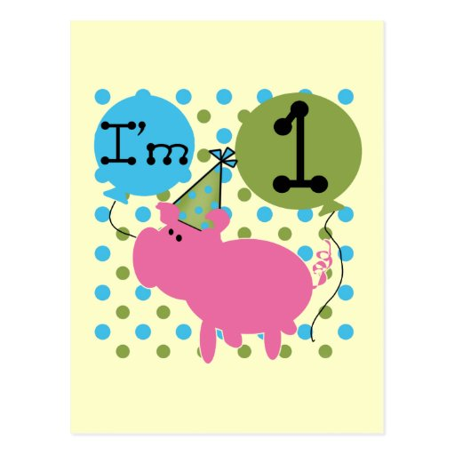Pig I'm 1 Birthday Tshirts and Gifts Post Card