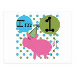 Pig I'm 1 Birthday Tshirts and Gifts Post Cards