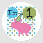 Pig I'm 1 Birthday Tshirts and Gifts Stickers