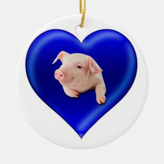 Pig in a Heart Ceramic Ornament
