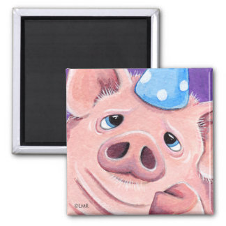 Pig in a Party Hat | Animal Art Magnet
