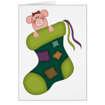 Pig In A Stocking Christmas Card