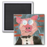 Pig in a Tux 2 Inch Square Magnet