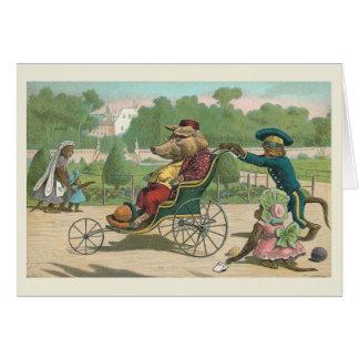 """Pig in a Wheelchair"" Vintage Card"