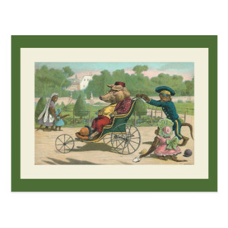 """Pig in a Wheelchair"" Vintage Illustration Postcard"