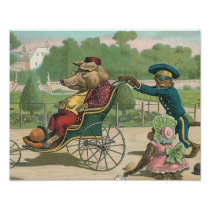 """Pig in a Wheelchair"" Vintage Illustration Poster"