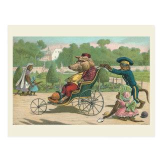 """Pig in a Wheelchair"" Vintage Postcard"