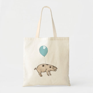 Pig in balloon budget tote bag