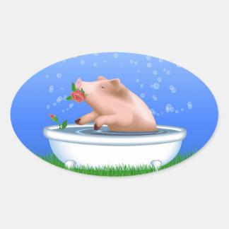 Pig in Bathtub Oval Sticker