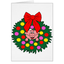 Pig in Christmas wreath Card