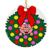 Pig in Christmas wreath Ceramic Ornament