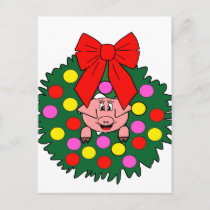 Pig in Christmas wreath Holiday Postcard