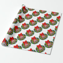 Pig in Christmas wreath Wrapping Paper