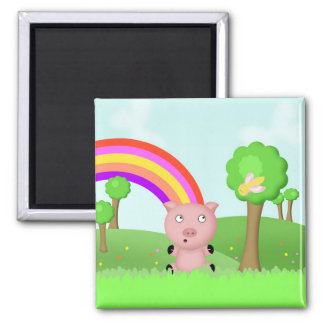 Pig in Colourful Fields Magnet - Parker the Pig