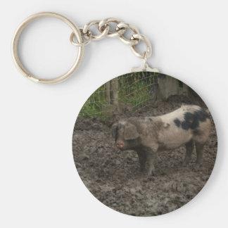 Pig in muck keychain