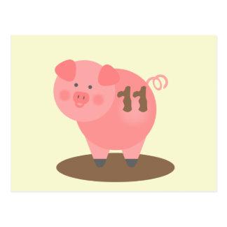 Pig In Mud Birthday Postcard Invite