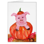 Pig in Pumpkin Greeting Card