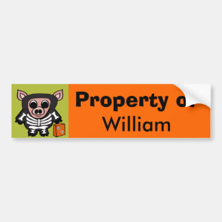 Pig in Skeleton Costume Trick or Treat Car Bumper Sticker