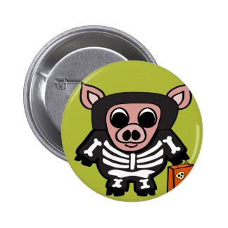 Pig in Skeleton Costume Trick or Treat 2 Inch Round Button
