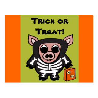 Pig in Skeleton Costume Trick or Treat Postcard