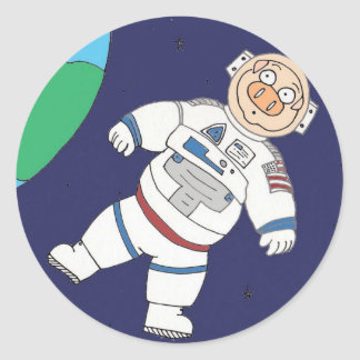 Pig In Space Classic Round Sticker