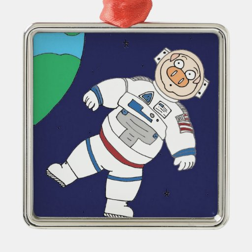 Pig In Space Square Metal Christmas Ornament