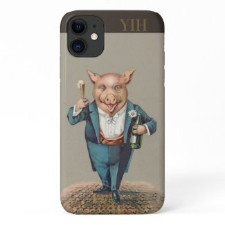 Pig in Teal Tux Drinking Champagne iPhone 11 Case
