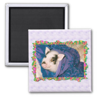 Pig in Towel Wrap Square Magnet