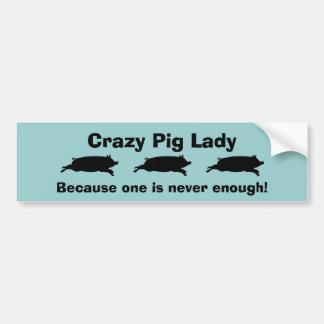 Pig Lady Bumper Sticker Car Bumper Sticker