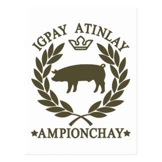 Pig Latin Postcard