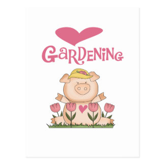 Pig Love Gardening Tshirts and Gifts Postcard