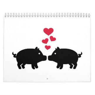 Pig love red hearts calendar