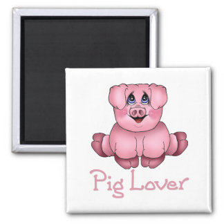 Pig Lover 2 Inch Square Magnet