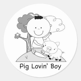 Pig Lovin' Boy Classic Round Sticker