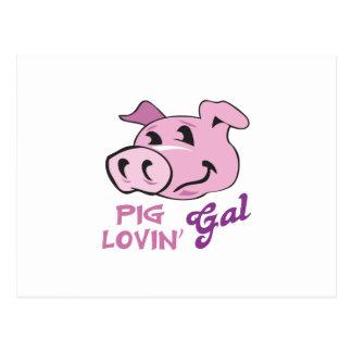 PIG LOVIN GAL POSTCARD