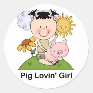 Pig Lovin' Girl Classic Round Sticker