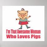 Pig Loving Woman Poster