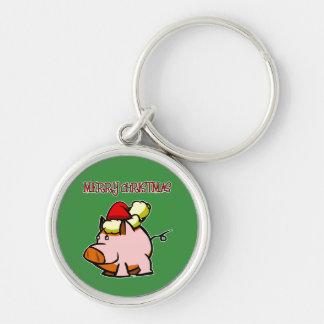 Pig Merry Christmas Keychain