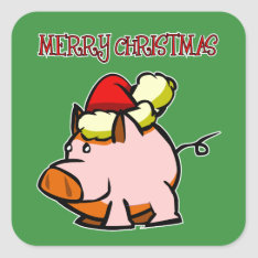 Pig Merry Christmas Sticker at Zazzle