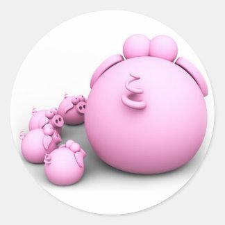 Pig mom classic round sticker