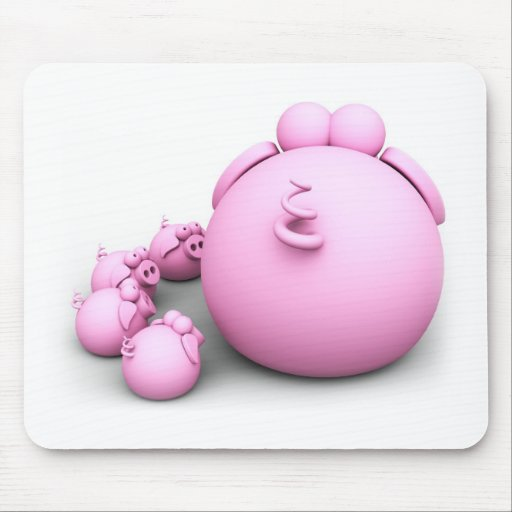 Pig mom mouse pad